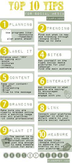 Top 10 tips for Social Media Campaigns #infografia #infographic #socialmedia
