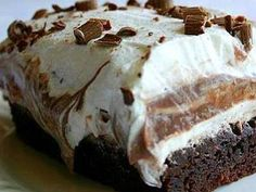 BROWNIE REFRIGERATOR CAKE - perhaps as inspiration - not so much the cream cheese and frozen topping, thank you very much.