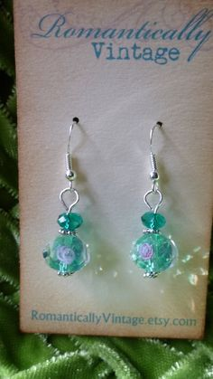 Dangle Teal Beaded Earrings Floral Shabby by RomanticallyVintage, $11.00