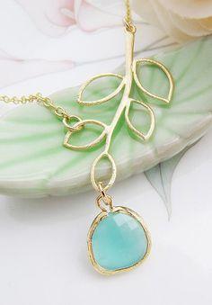 Simple Leaf with Sea Foam Mint Opal Glass Drop