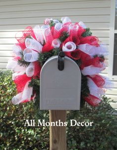 Red  White Deco Mesh Valentine's Wreath by AllMonthsDecor on Etsy