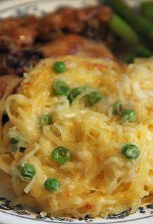 """""""Mac & Cheese"""" Spaghetti Squash with peas!"""
