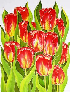 Red Tulips, Silk painting-Varvara Harmon