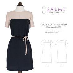 PDF Sewing pattern - Color Block T-shirt Dress