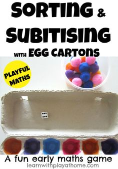 Original pinner wrote: Sorting & Subitising with Egg Cartons. Playful Maths from Learn with Play at home (Subitising/Subitizing is an important skill. I explain what it means in the post)