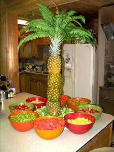 palm, pineappl, birthday parties, parti idea, graduation food, graduation parties