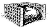 """Compost bin made from block or brick  """"Lay the blocks, with or without mortar, leaving spaces between each block to permit aeration. Form three sides of a 3-to 4-foot square, roughly 3 to 4 feet high."""""""