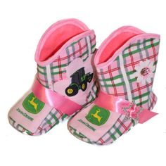 John Deere Baby Boots-John Deere Baby Boots,cowgirl boots for babies,booties for girls,infant newborn boots,baby shower gift