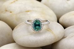 Gorgeous #Baylor ring! Green emerald, diamonds and white gold ring.