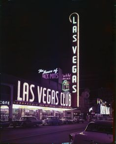"""The front exterior of the Las Vegas Club in Las Vegas between 1956-1958.  Part of UNLV Libraries """"Dreaming the Skyline"""" digital collection.  #UNLV"""