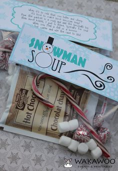 Snowman Soup Label/Tag Printable for Christmas/Holiday Gift - Coordinates with Melted Snowman Label. $6.00, via Etsy.