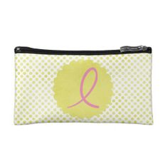 Pink Awareness Ribbon with Yellow Polka Dots Makeup Bags