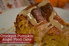 Crockpot Pumpkin Angel Food Cake....Yes you read that right.  Cake & caramel sauce in the crockpot and it is amazingly simple! pumpkin recipes, crockpot pumpkin, crock pots, angel food, pumpkin cakes, cake mixes, pumpkin angel, cake recipes, food cakes