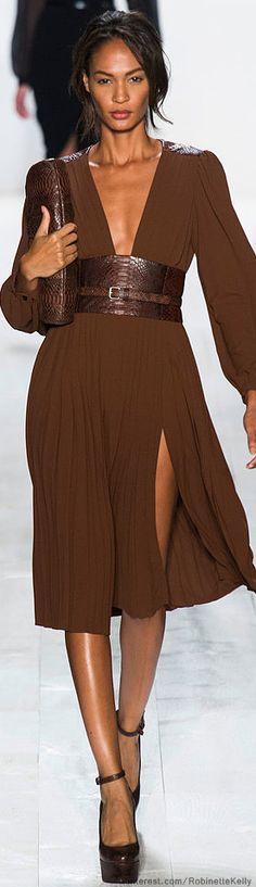 Michael Kors | S/S 2014...browns are calming colors. HotWomensClothes.com brown dresses, cloth, color, kor ss, michael kors dress 2014, beauti, closet, michael kors runway 2014, design