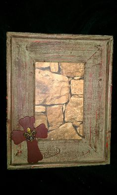 Wooden Distressed Picture frame with cross by bstreetboutique