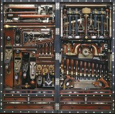 Apolonis APHRODISIA  The H.O. Studley Tool Chest Henry O. Studley (1838-1925) was an organ and piano maker, carpenter, and mason.… Born in 1838 in Lowell, Massachusetts, Studley is best known for creating the so called Studley Tool Chest, a wall hanging tool chest which cunningly holds some 300 tools… http://www.pinterest.com/pin/148900331401558390/