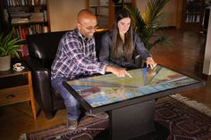 Ideum Platform 46 integrated multitouch coffee table with a ultra-fast and precise 3M display brings everyone on board for a gaming experience that is truly social.