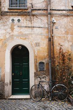 Rome, Italy bicycles, the doors, green doors, bike rides, rome italy, ride a bike, nicol franzen, design, brooklyn