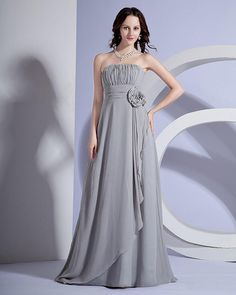Strapless Floor Length Bridesmaid Dress Gown With Handmade Flower in the waistline