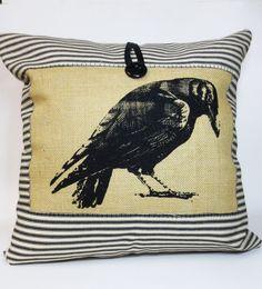 Crow+Hand+Screen+Print+Pillow++Burlap+Pillow+by+ecarlateboutique, hand screen, bird pillow, raven, print pillow, screen print, cushion covers, burlap pillows, cushions, crows