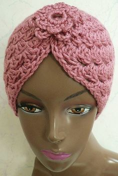 Crochet chemo cap turban - link at bottom of page reveals a list of chemo cap patterns knitted, crocheted, and even sewn - for men, women, and children. For summer wear, use cotton yarn (Sugar n' Cream) which is soft and cooler than other worsted weight yarns.