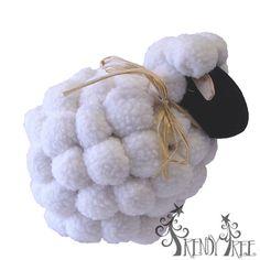 """Pom Pom Sheep Easter Decoration Size: 7.5"""" x 5"""" x 5.5"""""""