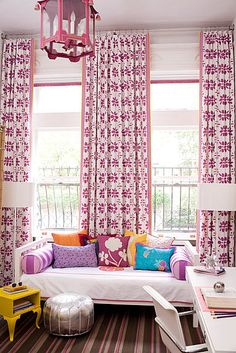 Colorful Girls room - cool drapery.