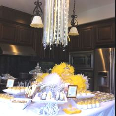 Yellow and gray dessert table