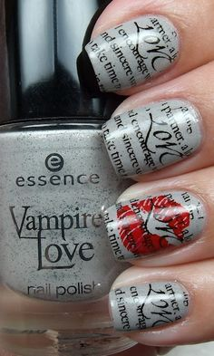 Newspaper nails.   Directions: paint nails with any colored polish; let dry completely; dip nail in rubbing alcohol and then press a piece of newspaper on nail for 5 seconds or so, then remove; let dry and then finish with a top coat to preserve your nail design.