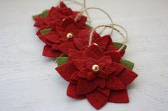 Dark Red Wool Felt Poinsetta Christmas Tree Ornaments - Set of 5 - Christmas Decorations