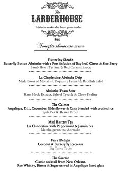 The full menu at the UK's first absinthe dinner.