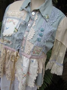 Vintage Kitty.. shabby chic, lace, duck egg blue, cream, ecru, doilies, upcycled shirt,