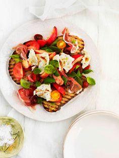 Tomato, prosciutto, peach, basil and mozzarella salad
