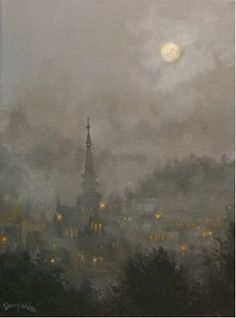 Snow Moon by Tom Shropshire Acrylic ~ 12 x 9