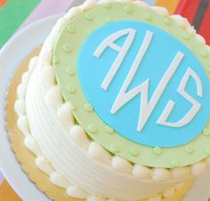 monogrammed birthday cake. baby shower cakes, wedding shower cakes, monogram, fondant cakes, cake toppers, bridal showers, baby showers, bridal shower cakes, birthday cakes