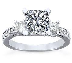 Three Stone Princess Diamond Engagement Ring