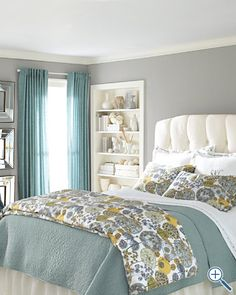 love this print with the soft blue and mustard...too bad I just painted an orange wall in my room :( bedding, wall colors, grey walls, bedroom decor, color combos, color schemes, bedroom colors, master bedrooms, guest rooms