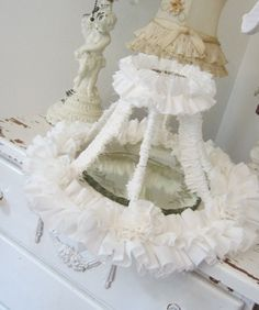 Vintage Lamp Shade - Shabby French Cottage Farmhouse - Tattered Ruffles and Roses - White Muslin