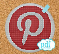 Pinterest Icon, cross stitch pattern designed by @Kim Lawrence, from Cupcake Cutie.