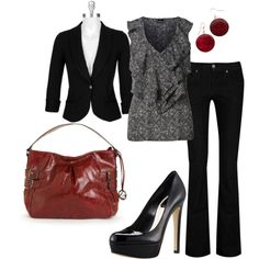 Black with Red, created by #styleofe on #polyvore. #fashion #style Love on a Hanger James Jeans