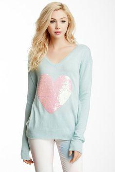 Heart Sequin Stripe Sweater