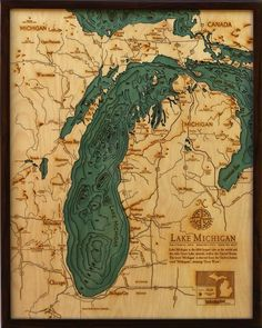 Lake Michigan wood laser cut chart from Below the Boat.