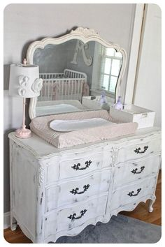 Love the use of the dresser as a changing table
