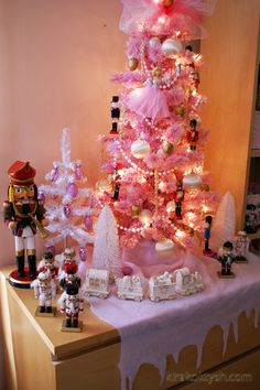 Nutcracker in pink Christmas tree