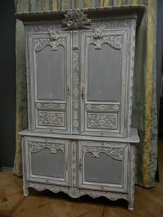 French antique painted marriage buffet deux corps XIXcth