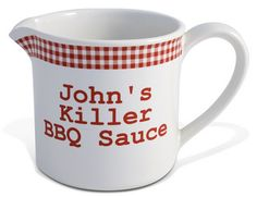 Red Gingham Large BBQ Sauce Pot