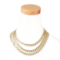 Thick Triple Chain Link Necklace | Claire's-like the shortness so that it would fill out a neck line.