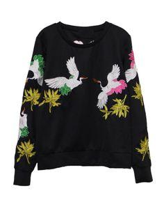Vintage Style Bird Print Round Neckline Sweatshirt