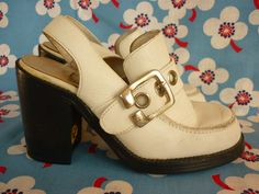 70s / 80s White Platform Shoes