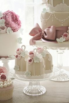 Beautiful mini birdcage cakes.